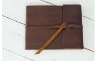Rustic Brown Leather - Leather Rustic Guest Book