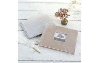 Velvet Wedding Guest Book- Champagne velvet with photo frame cover, Silvery Gray velvet without photo frame- by Blue Sky Papers