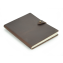 "Rustic Leather Lined Notebook - ""The Venture"" - Dark Brown - Stud Closure"