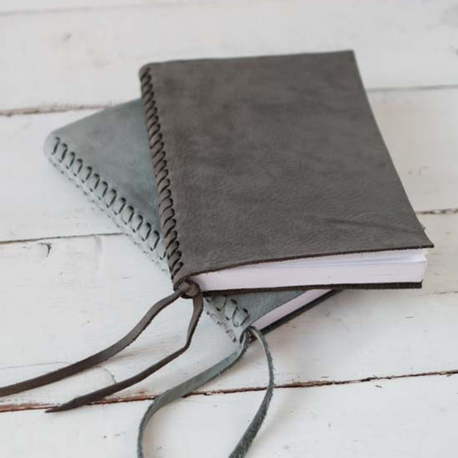 Braided leather spine journal by blue sky papers braided leather spine journal slate nubuck on bottom and charcoal nubuck fandeluxe Image collections