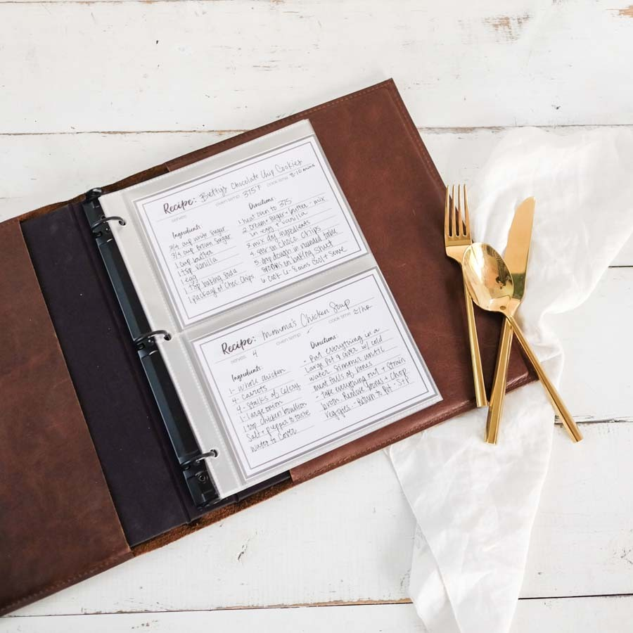 leather recipe binder by blue sky papers
