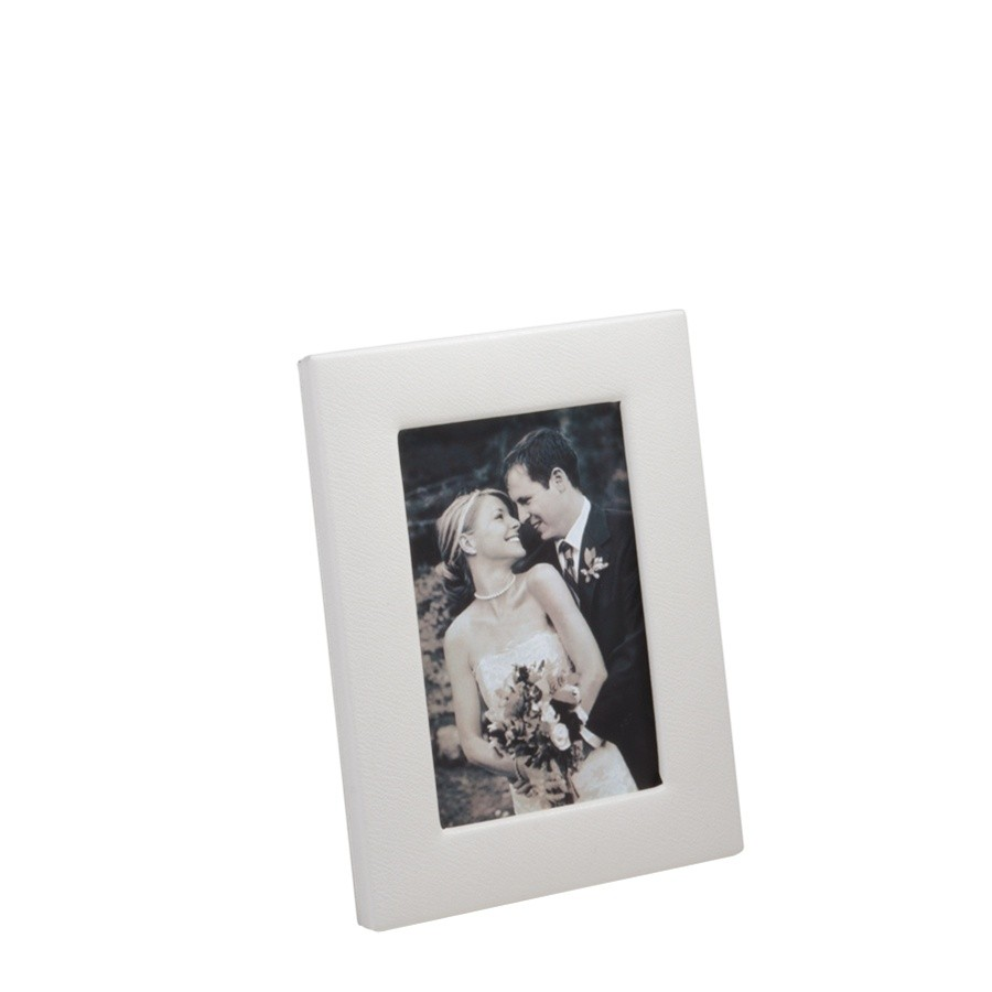 Leather photo frames white leather photo frame personalization available from blue sky papers jeuxipadfo Image collections