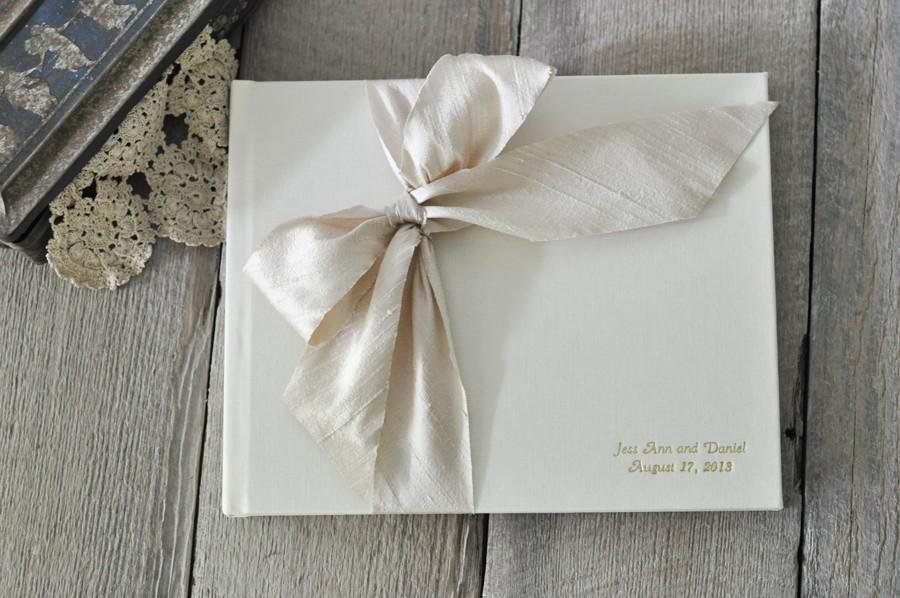 Champagne and Blush Blossom Ivory  CUSTOM COLORS  too Guestbook Wedding Guest Book and Pen Set