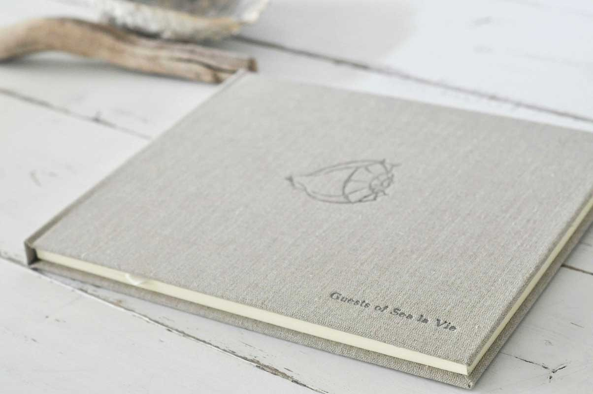Embossing Fabric Book Cover : Beach home guest book an archival keepsake by