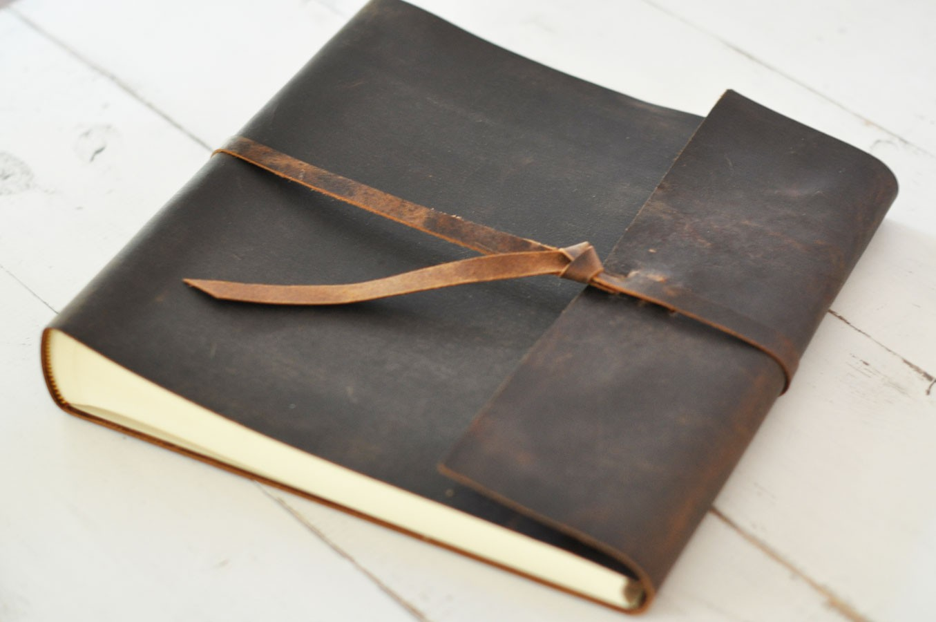 Leather Rustic Album, distressed custom design - by Blue Sky Papers