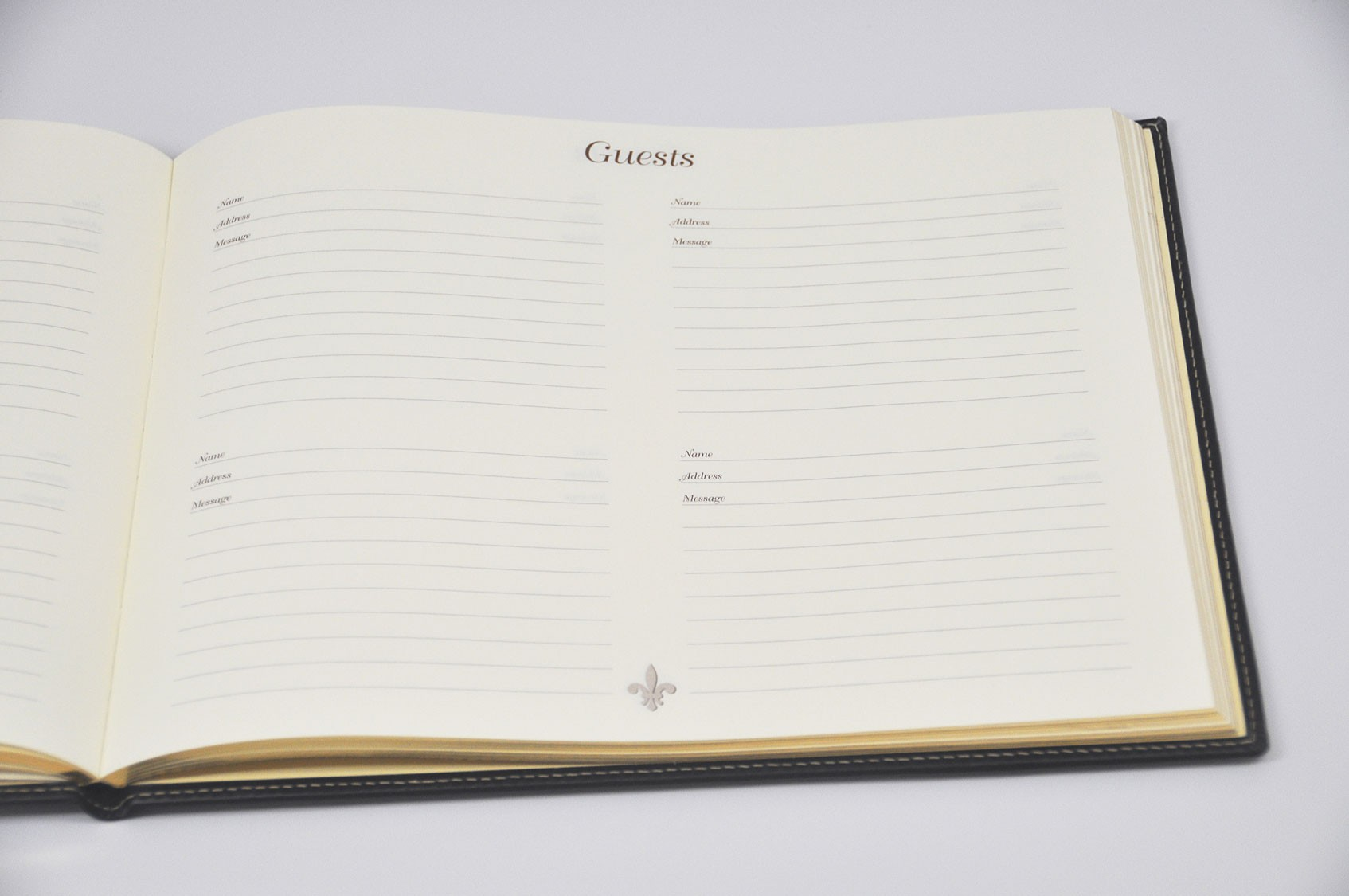 Gold Frame Leather Guest Book from Blue Sky Papers