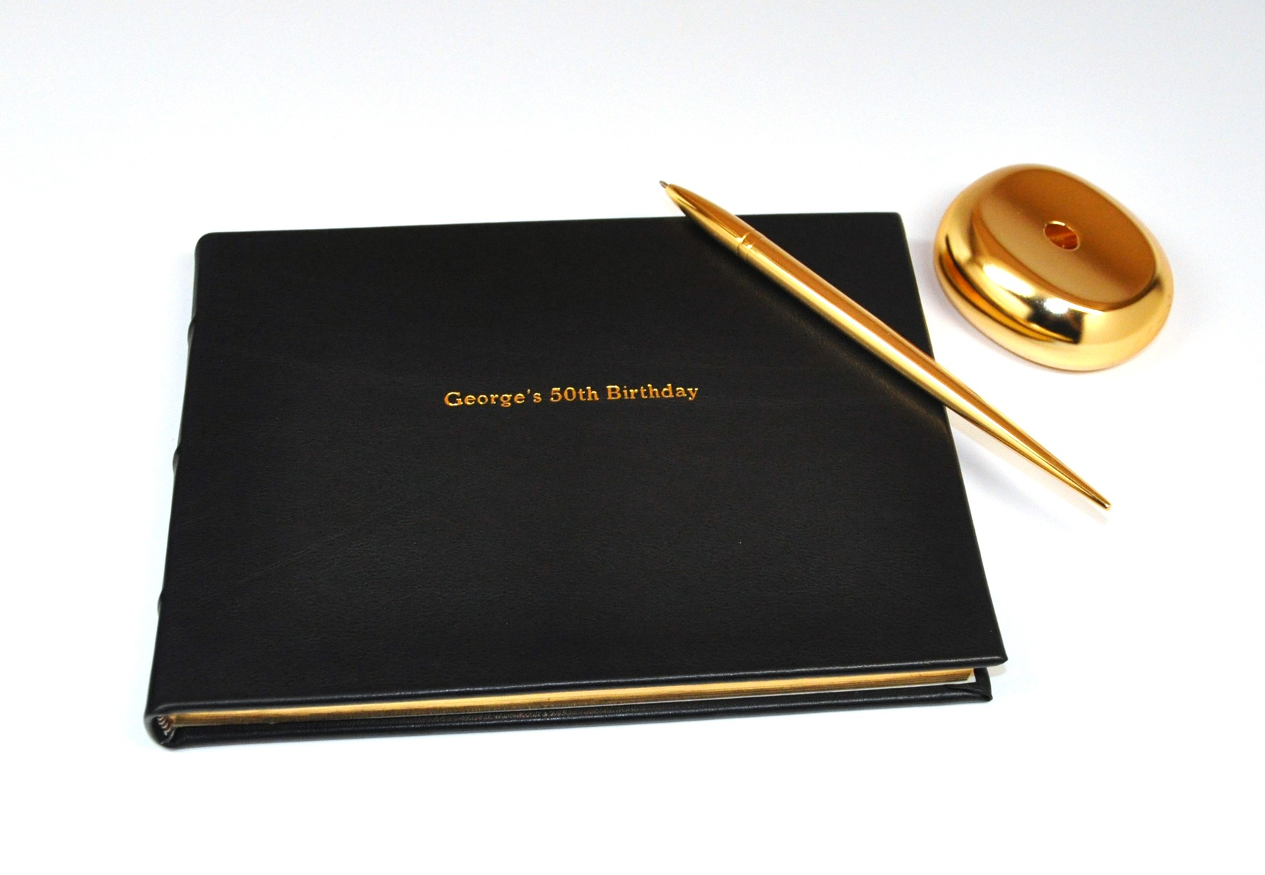 Center Personalized Leather Guest Book