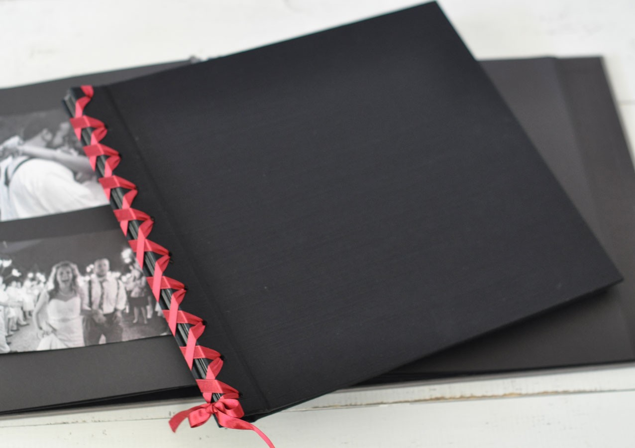 Ribbon Laced Album With Black Pages By Blue Sky Papers
