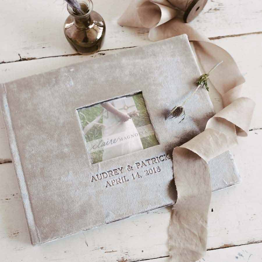 Velvet Wedding Guest Book - by Blue Sky Papers