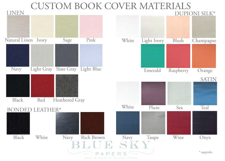 Custom Book Colors by Blue Sky Papers