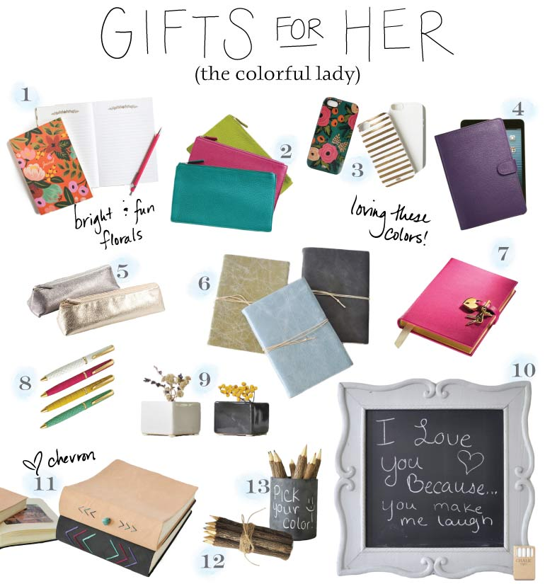 Gifts for Her - the colorful type - from BlueSkyPapers!