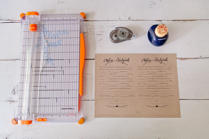 Materials Needed To Cut Your Wedding Mad Libs Printable