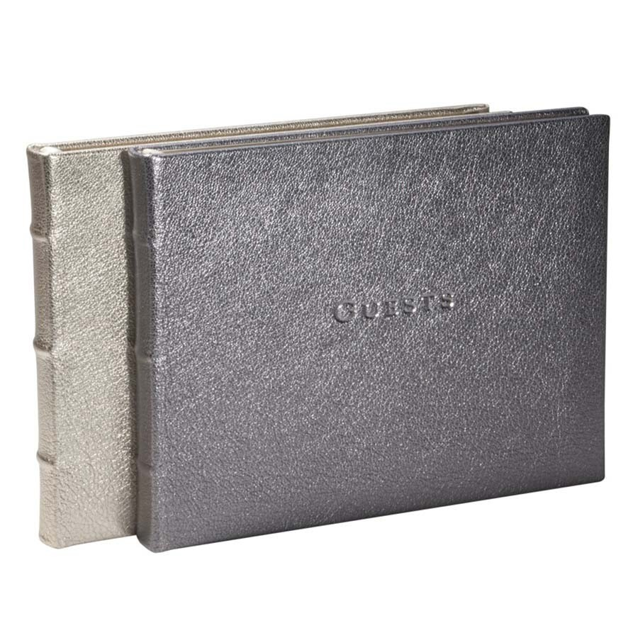 Library Bound Leather Guest Book Metallic White Gold Silver Blue Sky Papers